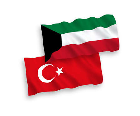 National vector fabric wave flags of Turkey and Kuwait isolated on white background. 1 to 2 proportion. Illustration