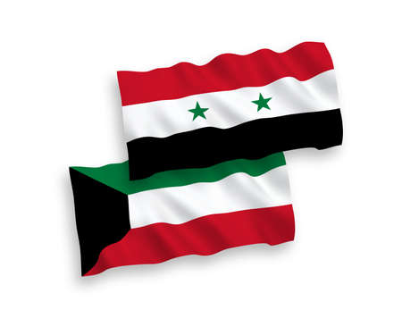 National vector fabric wave flags of Kuwait and Syria isolated on white background. 1 to 2 proportion. Illustration