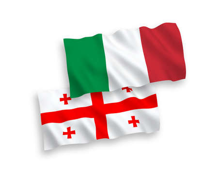 National vector fabric wave flags of Italy and Georgia isolated on white background. 1 to 2 proportion.