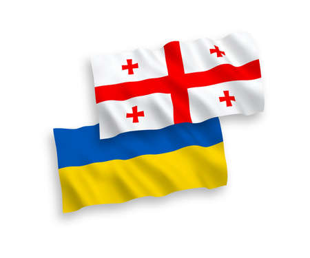 National vector fabric wave flags of Georgia and Ukraine isolated on white background. 1 to 2 proportion.