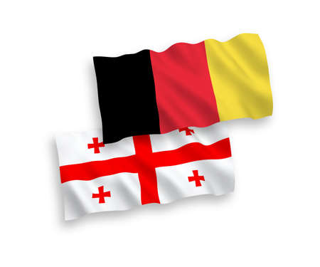 National vector fabric wave flags of Georgia and Belgium isolated on white background. 1 to 2 proportion.