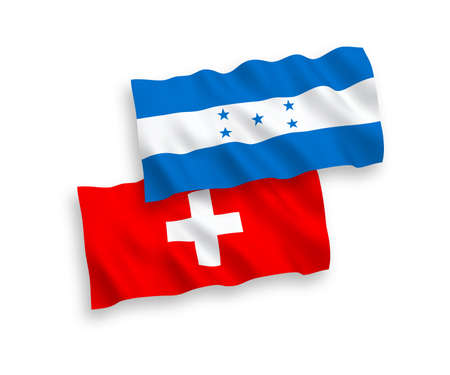National vector fabric wave flags of Honduras and Switzerland isolated on white background. 1 to 2 proportion.