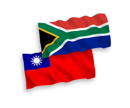 National vector fabric wave flags of Taiwan and Republic of South Africa isolated on white background. 1 to 2 proportion.