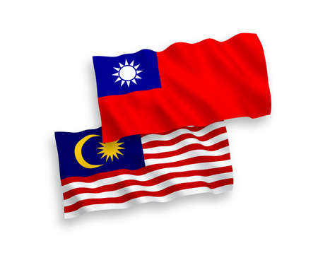National vector fabric wave flags of Taiwan and Malaysia isolated on white background. 1 to 2 proportion.