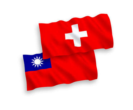 National vector fabric wave flags of Taiwan and Switzerland isolated on white background. 1 to 2 proportion.