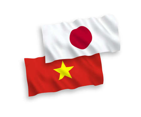 National vector fabric wave flags of Japan and Vietnam isolated on white background. 1 to 2 proportion.
