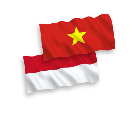 National vector fabric wave flags of Indonesia and Vietnam isolated on white background. 1 to 2 proportion. Stock Vector - 133538182