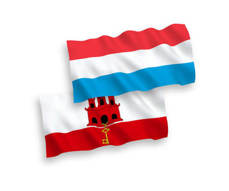 National vector fabric wave flags of Gibraltar and Luxembourg isolated on white background. 1 to 2 proportion.