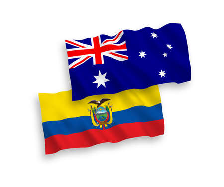 National vector fabric wave flags of Australia and Ecuador isolated on white background. 1 to 2 proportion.