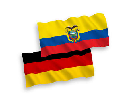 National vector fabric wave flags of Germany and Ecuador isolated on white background. 1 to 2 proportion.