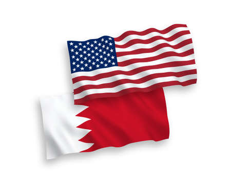National vector fabric wave flags of Bahrain and USA isolated on white background. 1 to 2 proportion.
