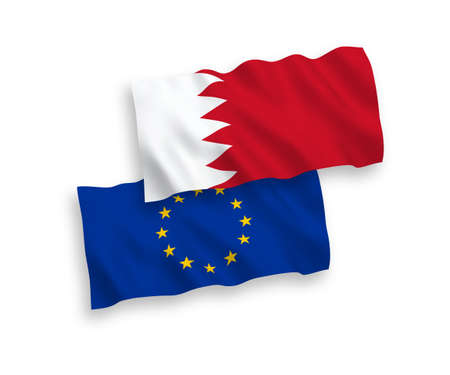 National vector fabric wave flags of European Union and Bahrain isolated on white background. 1 to 2 proportion.