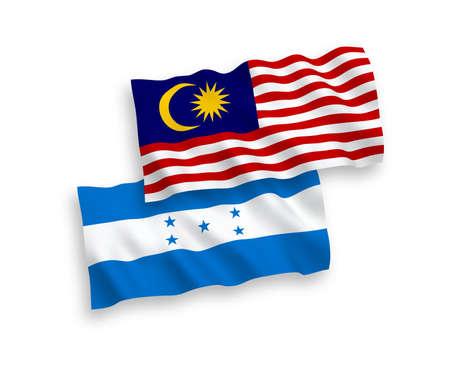 National vector fabric wave flags of Honduras and Malaysia isolated on white background. 1 to 2 proportion. Illustration