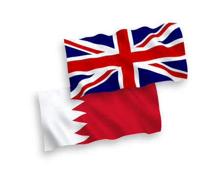 National vector fabric wave flags of Great Britain and Bahrain isolated on white background. 1 to 2 proportion. Illustration