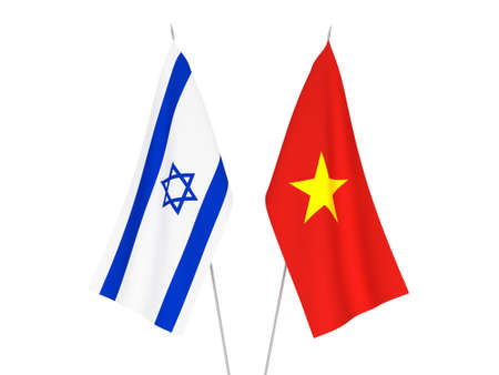 National fabric flags of Vietnam and Israel isolated on white background. 3d rendering illustration.
