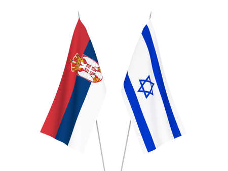 National fabric flags of Serbia and Israel isolated on white background. 3d rendering illustration.