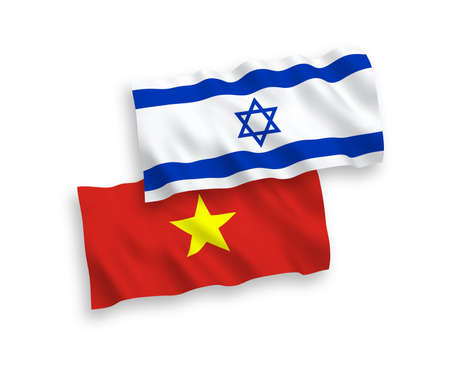 National vector fabric wave flags of Vietnam and Israel isolated on white background. 1 to 2 proportion.