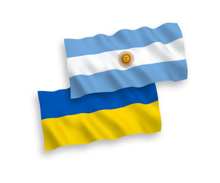 National vector fabric wave flags of Argentina and Ukraine isolated on white background. 1 to 2 proportion.