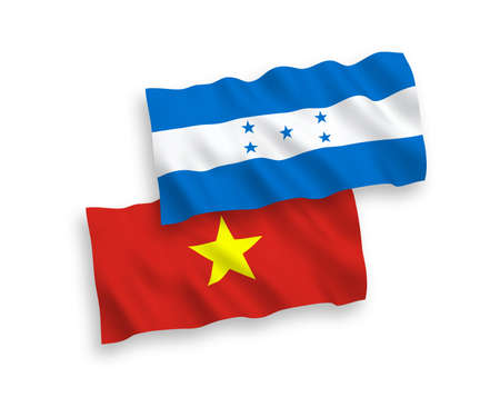 National vector fabric wave flags of Vietnam and Honduras isolated on white background. 1 to 2 proportion.