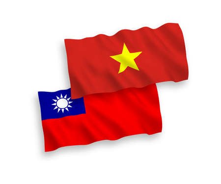 National vector fabric wave flags of Vietnam and Taiwan isolated on white background. 1 to 2 proportion. Illustration