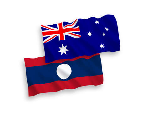 National vector fabric wave flags of Australia and Laos isolated on white background. 1 to 2 proportion.