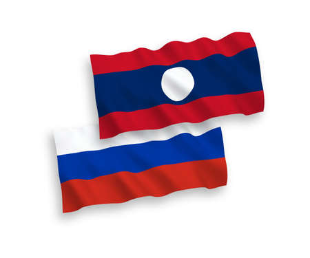 National vector fabric wave flags of Laos and Russia isolated on white background. 1 to 2 proportion. Illustration