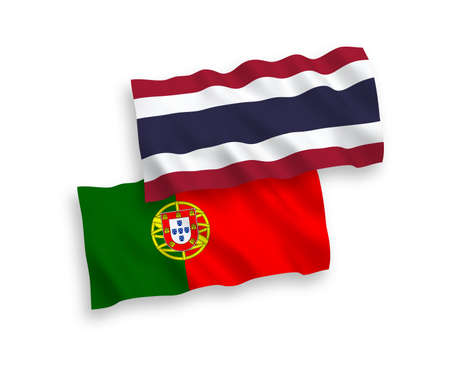 National vector fabric wave flags of Portugal and Thailand isolated on white background. 1 to 2 proportion.