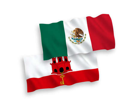 National vector fabric wave flags of Mexico and Gibraltar isolated on white background. 1 to 2 proportion.