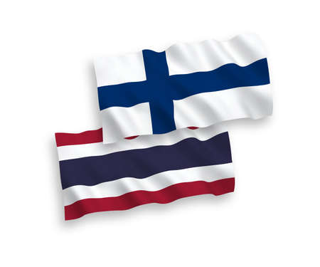 National vector fabric wave flags of Finland and Thailand isolated on white background. 1 to 2 proportion.
