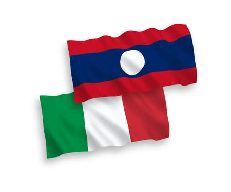 National vector fabric wave flags of Italy and Laos isolated on white background. 1 to 2 proportion.