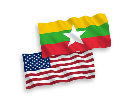 National vector fabric wave flags of Myanmar and USA isolated on white background. 1 to 2 proportion.