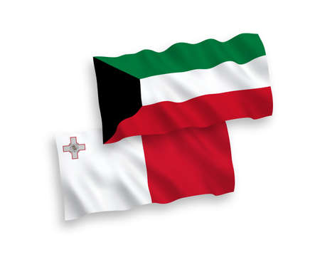 National vector fabric wave flags of Malta and Kuwait isolated on white background. 1 to 2 proportion.