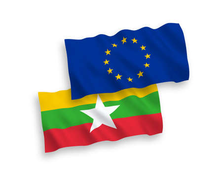 National vector fabric wave flags of European Union and Myanmar isolated on white background. 1 to 2 proportion. Illustration