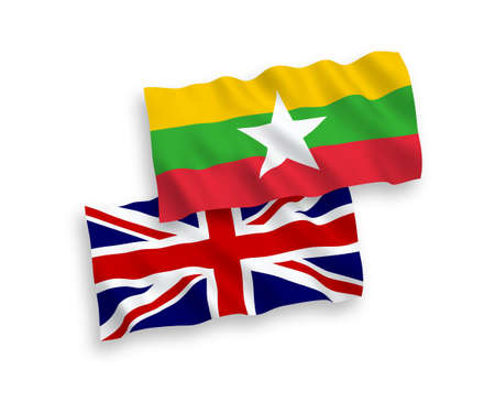 National vector fabric wave flags of Great Britain and Myanmar isolated on white background. 1 to 2 proportion.