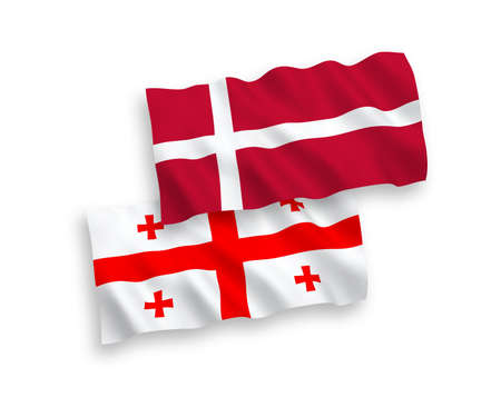 National vector fabric wave flags of Denmark and Georgia isolated on white background. 1 to 2 proportion.