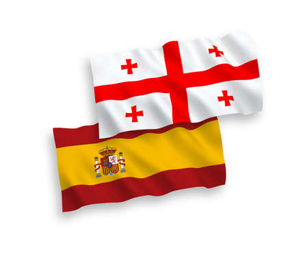National vector fabric wave flags of Georgia and Spain isolated on white background. 1 to 2 proportion. Illustration