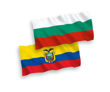 National vector fabric wave flags of Bulgaria and Ecuador isolated on white background. 1 to 2 proportion.