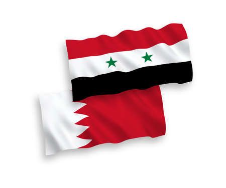 National vector fabric wave flags of Bahrain and Syria isolated on white background. 1 to 2 proportion. Illustration