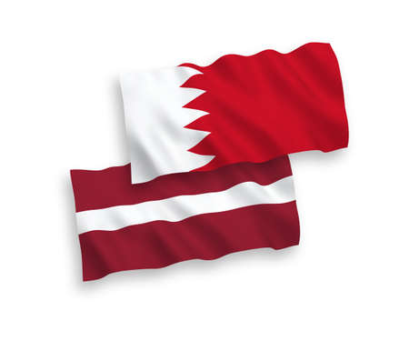 National vector fabric wave flags of Latvia and Bahrain isolated on white background. 1 to 2 proportion. Illustration