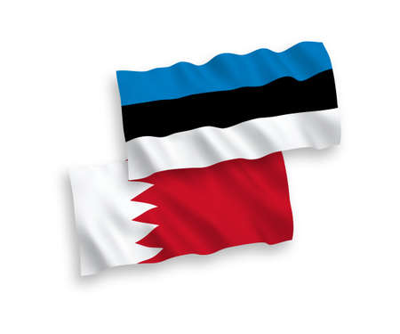 National vector fabric wave flags of Estonia and Bahrain isolated on white background. 1 to 2 proportion. Illustration