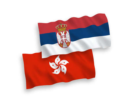 National vector fabric wave flags of Hong Kong and Serbia isolated on white background. 1 to 2 proportion.