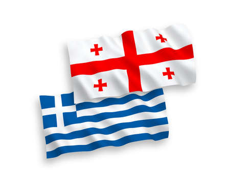 National vector fabric wave flags of Greece and Georgia isolated on white background. 1 to 2 proportion.