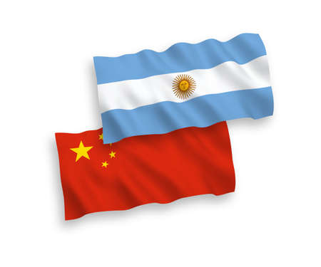 National vector fabric wave flags of Argentina and China isolated on white background 1 to 2 proportion.