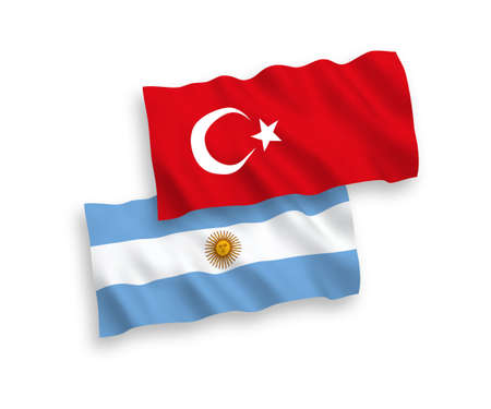 National vector fabric wave flags of Turkey and Argentina isolated on white background. 1 to 2 proportion.