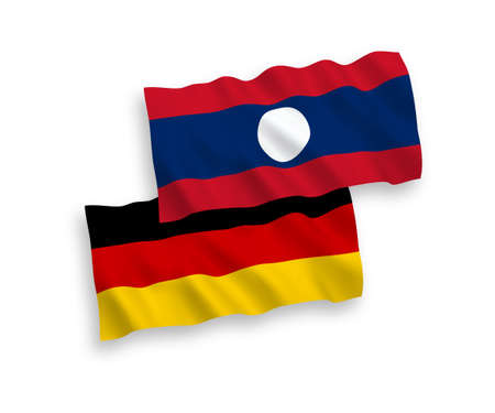 National vector fabric wave flags of Germany and Laos isolated on white background. 1 to 2 proportion.