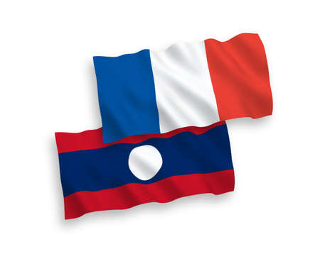 National vector fabric wave flags of France and Laos isolated on white background. 1 to 2 proportion.