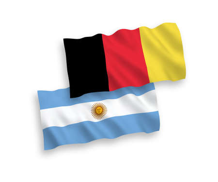 National vector fabric wave flags of Argentina and Belgium isolated on white background. 1 to 2 proportion. Illustration
