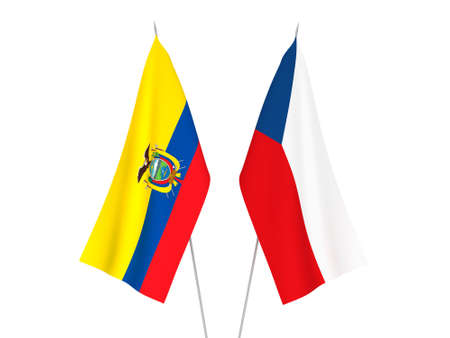 National fabric flags of Ecuador and Czech Republic isolated on white background. 3d rendering illustration. 版權商用圖片