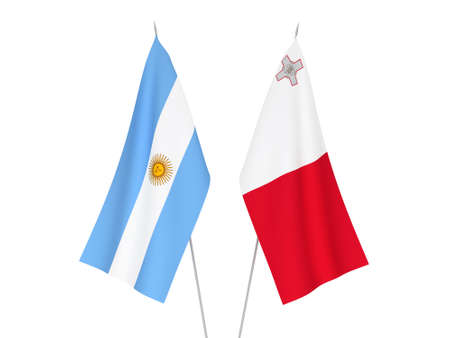 National fabric flags of Argentina and Malta isolated on white background. 3d rendering illustration.