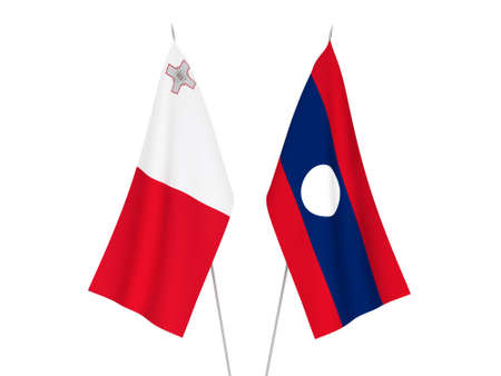 National fabric flags of Laos and Malta isolated on white background. 3d rendering illustration. 스톡 콘텐츠